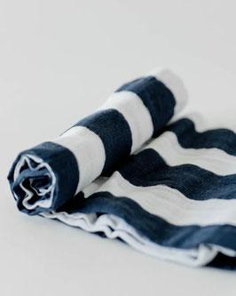 Cotton Muslin Swaddle Single - Navy Stripe