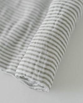Cotton Muslin Swaddle Single - Grey Stripe