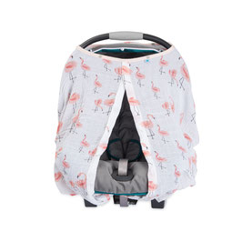 Cotton Muslin Car Seat Canopy - Pink Ladies