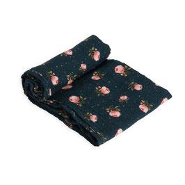 Cotton Muslin Swaddle Single - Midnight Rose