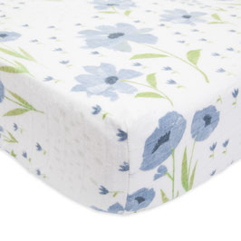 Brushed Crib Sheet - Blue Windflower