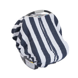 Cotton Muslin Car Seat Canopy - Navy Stripe