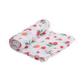 Cotton Muslin Swaddle Single - Strawberry
