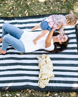 Outdoor Blanket - Black & White Stripe