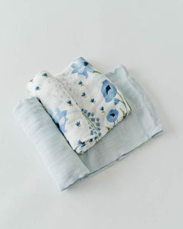 Deluxe (Bamboo) Muslin Swaddle 2Pack - Blue Windflower