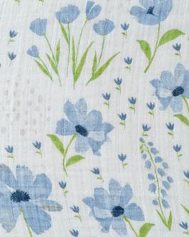 Organic Cotton (Bio-Baumwolle) Muslin Swaddle Single - Blue Windflower