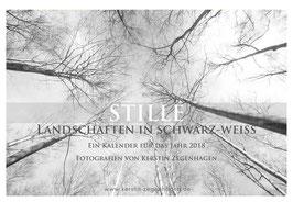 """Kalender """"Stille"""", Landschaften in Schwarz-Weiß, 2018, Größe B3 = 48,5 x 33,5 cm"""