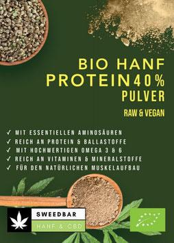 41,2% Protein Hanf- Pulver Bio, 27,6% Ballaststoffe