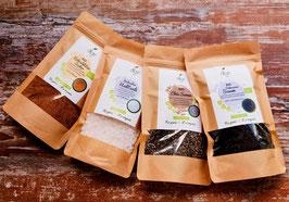 Bio 4er Probierpack -  Halit Salz, Kokosblütenzucker, Chia Samen und schwarzer Sesam
