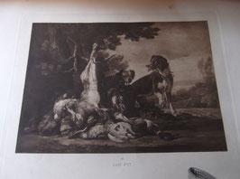 Lithographies anciennes numérotées de personnages, scènes de chasse et de nature