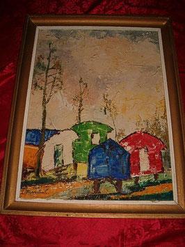 """Peinture """"Un camp avec des caravanes"""" de P. Marchal"""