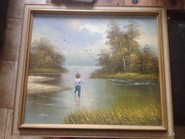 """Grand tableau ancien """"Petit garçon à la pêche"""", de C. Manuel"""