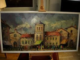 """Grand tableau """"Village en Toscane"""""""