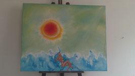 """Tableau """"La mer"""", peinture à l'huile, de José Gerson"""