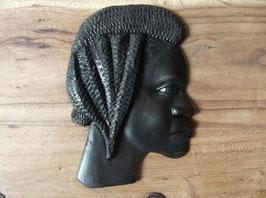Sculpture tête africaine en bois d'ébène