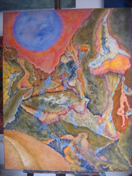 """Tableau """"Labyrinthe à l'infini"""", peinture à l'huile, de José Gerson, Genève"""