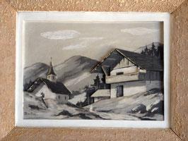 """Tableau sculpture """"Paysage de montagne"""" de Berthod"""