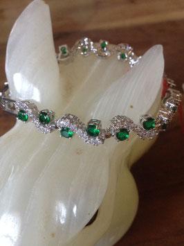 Bracelet neuf brillant plaqué or jaune avec zircones verts