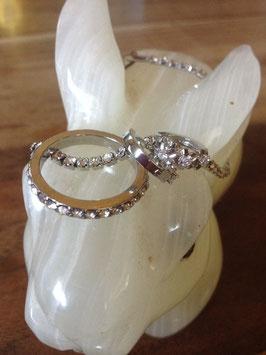Parure de bijoux en plaqué or blanc 18 carats et en argent