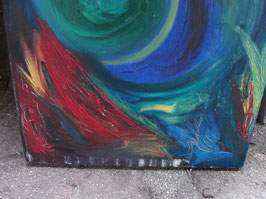 "Huile sur toile ""Ouragan multicolore"""