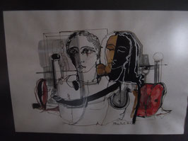 "Aquarelle ""Couple"", de J. Bachet"