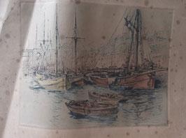 "Lithographie ancienne : ""Voiliers et barques"""
