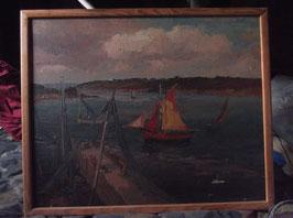 """Tableau d'art ancien à l'huile : """"Les Yachts"""""""