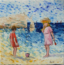 "Peinture pointilliste : ""Plage normande"" de Carin"
