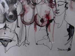 """Aquarelle """"Femmes nues en rouge et noir"""", de J. Bachet"""