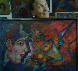 """Tableau """"Cybernaute"""", peinture à l'huile, de José Gerson (en 3D avec des lunettes vert/rouge)"""