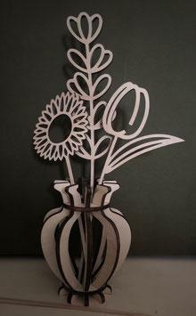 Houtenbloemenset  1 korenaar, zonnebloem en tulp  compleet in mooi houten vaasje