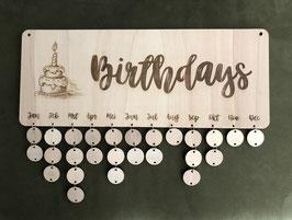 Houten verjaardagskalender  afmetingen 50 x 20 cm