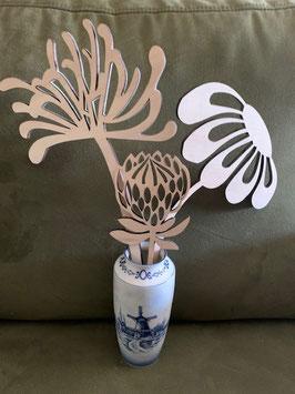 Houtenbloemenset  3 compleet in mooi houten vaasje