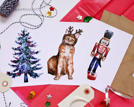 Set of 3 or 6 Holiday-cards!