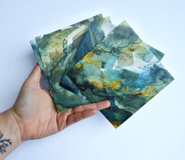 'An ode to the ocean' set of four postcards (inc. four envelopes)