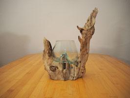 Wurzelholz mit 1 Glas  - W 19-1/30