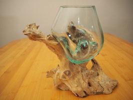 Wurzelholz mit 1 Glas  - W 19-1/17