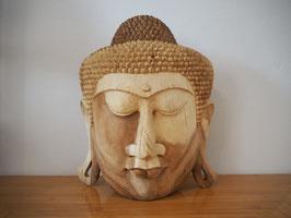 Massive Buddha Wandmaske aus Suarholz mit natürlicher Holzmaserung, unbehandelt -R5-