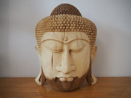 Massive Buddha Wandmaske aus Suarholz mit natürlicher Holzmaserung, unbehandelt -R2-