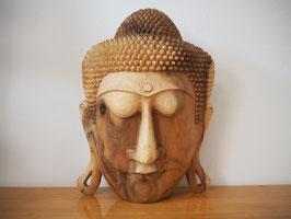 Massive Buddha Wandmaske aus Suarholz mit natürlicher Holzmaserung, unbehandelt -R10-