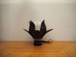 Muschellampe Palmblatt Lotus (8 mittellange Blätter, runde Lampenform, dunkelbraun)