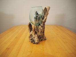 Wurzelholz mit 1 Glas  - W 19-1/31