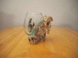Wurzelholz mit 1 Glas  - W 19-1/27