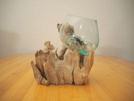Wurzelholz mit 1 Glas  - W 19-1/36
