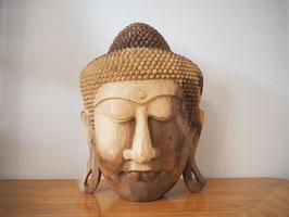 Massive Buddha Wandmaske aus Suarholz mit natürlicher Holzmaserung, unbehandelt -R1-