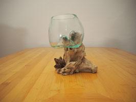 Wurzelholz mit 1 Glas  - W 19-1/28