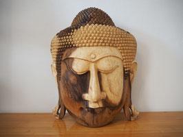 Massive Buddha Wandmaske aus Suarholz mit natürlicher Holzmaserung, unbehandelt -R11-