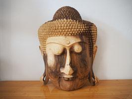 Massive Buddha Wandmaske aus Suarholz mit natürlicher Holzmaserung, unbehandelt -R9-