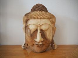 Massive Buddha Wandmaske aus Suarholz mit natürlicher Holzmaserung, unbehandelt -R3-