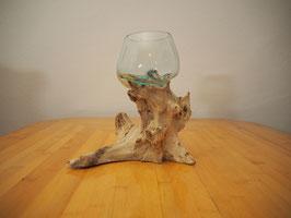 Wurzelholz mit 1 Glas  - W 19-1/37
